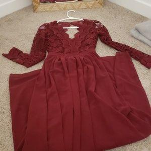 Burgundy lace long sleeve maxi dress